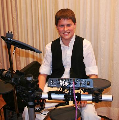 Robert Purkiss young drummer in The Bursledon Village Band